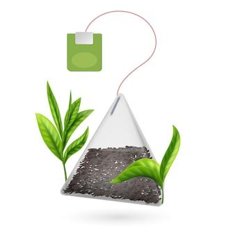 Bolsita de té realista con hojas de té