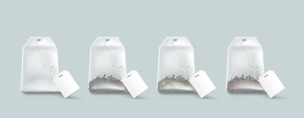 Bolsitas de té, bolsitas de té aisladas con etiquetas en blanco en maqueta de cuerda