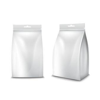 Bolso blanco realista del paquete de la comida de papel en blanco