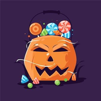 Bolso de calabaza de halloween de diseño plano