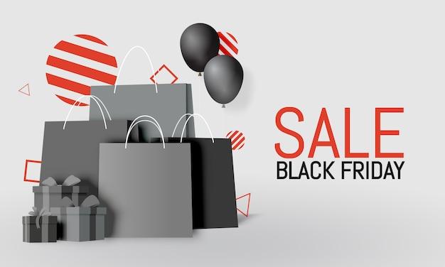 Bolso de compras y caja de regalo en papel estilo arte y pancarta de viernes negro