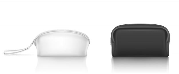 Bolso cosmético blanco negro con cremallera para maquillaje