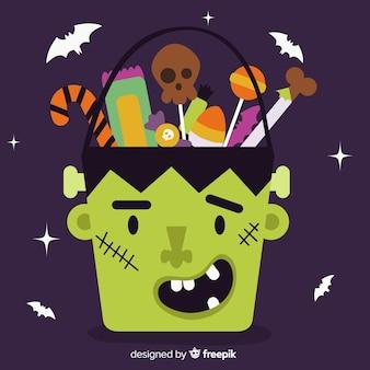 Bolso de frankenstein de halloween dibujado a mano