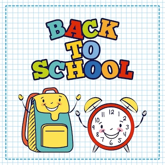 Bolso kawaii y reloj despertador, regreso a la escuela