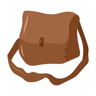 Bolso marrón de cuero para hierbas. elemento de diseño mágico de brujería. ilustración de dibujado a mano de vector.