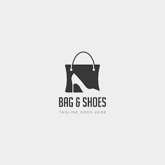 Bolso de moda shoping con elemento de icono de ilustración de vector de plantilla de logotipo simple de espacio negativo de tacón alto - vector