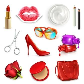 Bolso de mujer rojo con cosméticos, accesorios, gafas de sol y zapatos de tacón alto, conjunto de ilustración aislado sobre el fondo blanco.