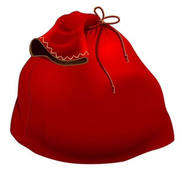 Bolso rojo grande de la navidad de papá noel aislado en blanco