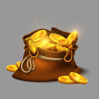 Bolso viejo grande de dibujos animados con monedas de oro aislado