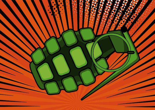 Bomba de arte pop en la ilustración de fondo de estilo retro del arte pop cómico