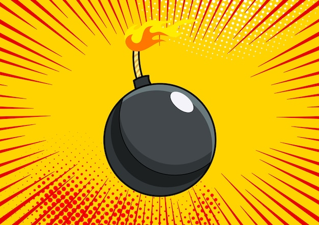 Bomba de arte pop sobre fondo de estilo retro de cómic pop art. el terrorismo es un peligro de destrucción bomba de dibujos animados