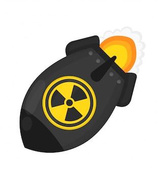 Bomba atómica. concepto de guerra nuclear. diseño de icono de ilustración de personaje de dibujos animados plana.