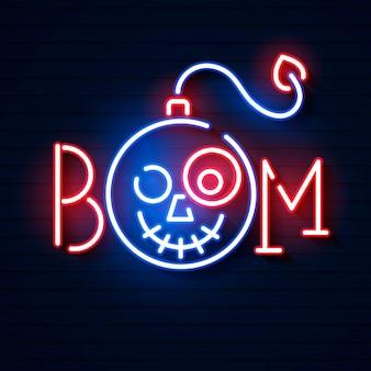 Bomba azul brillante icono de neón