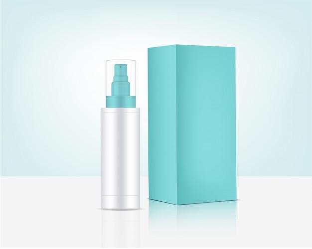 Bomba de botella de spray mock up cosmética orgánica realista y caja para productos para el cuidado de la piel