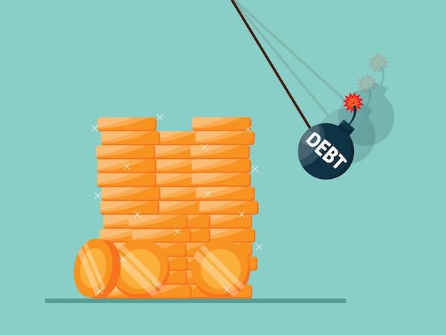 Bomba de deuda destruye la pila de monedas de dinero, ilustración de crisis económica