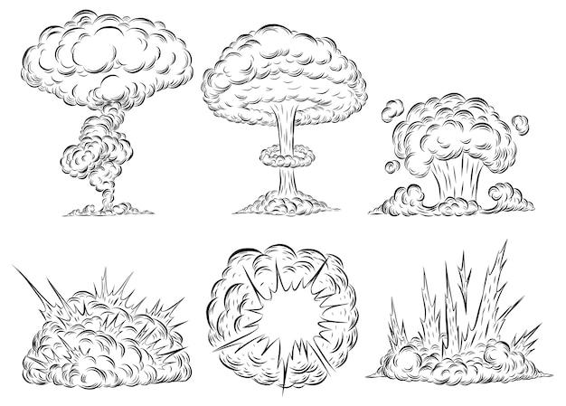 Bomba explosión setas nube a mano dibujo