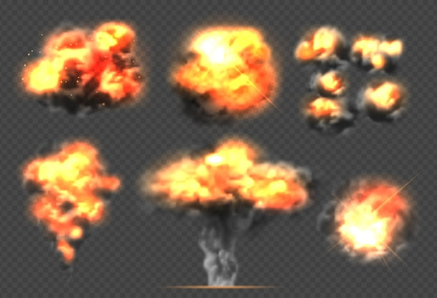 Bomba explosiva. efecto de luz humo y bola de fuego explosiones dramáticas nubes