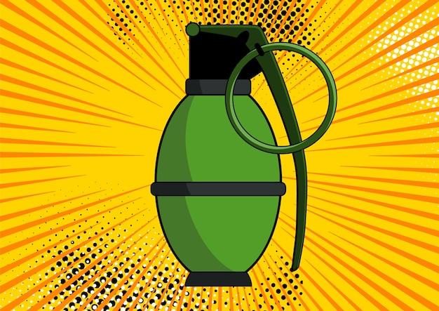 Bomba en el fondo del estilo retro del arte pop cómico. bomba en el fondo con puntos de semitono y rayos de sol.