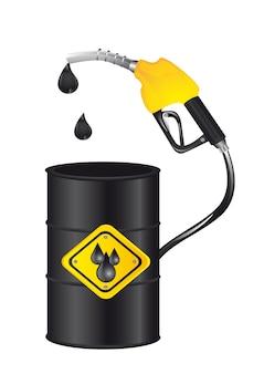 Bomba de gasolina con barril aislado