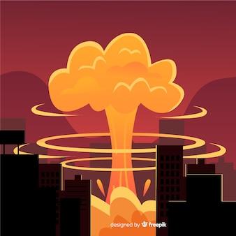 Bomba nuclear plana en una ciudad