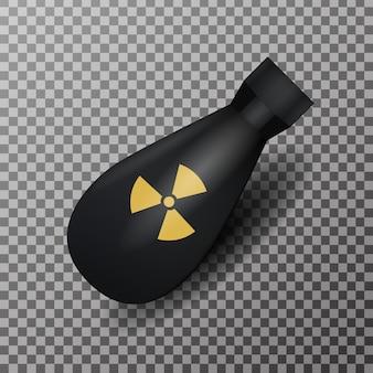 Bomba nuclear realista oh el fondo transparente. concepto de guerra y radiación.