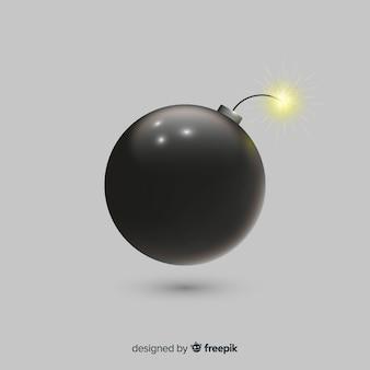 Bomba redonda negra estilo realista