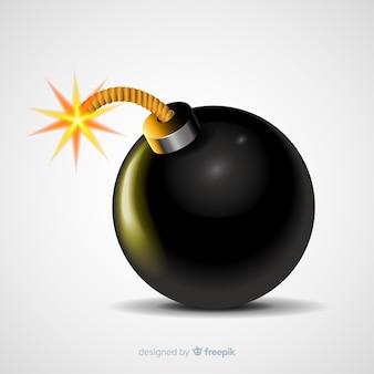 Bomba redondeada realista con mecha