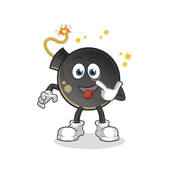 Bomba se ríe y se burla del personaje. mascota de dibujos animados