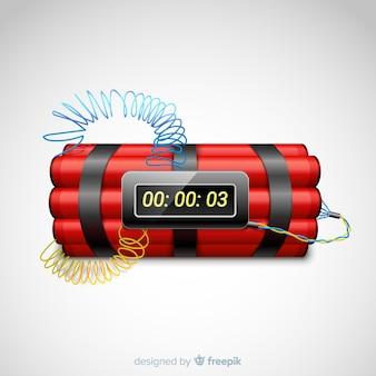 Bomba de tiempo roja estilo realista