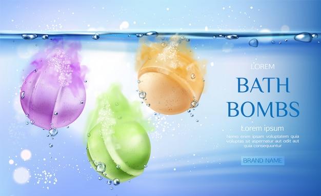 Bombas de baño en agua, productos de belleza de cosméticos para el cuidado corporal.