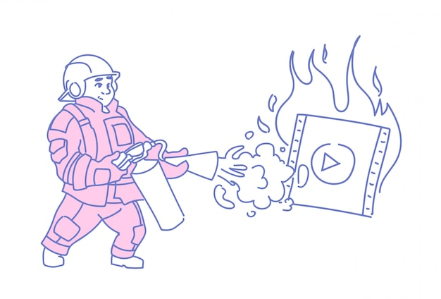 Bombero extinción quemador reproductor de video medios en línea streaming película película