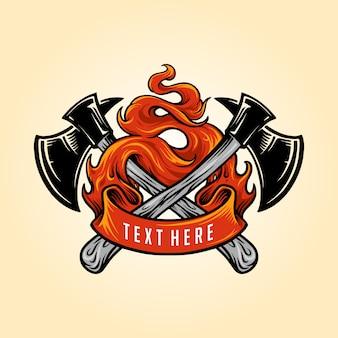 Bombero hacha fuego logotipo ilustraciones