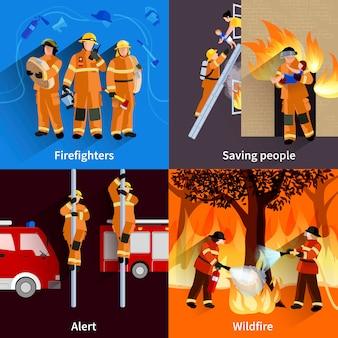 Bombero personas 2x2 composiciones de la tripulación de los bomberos alertando incendios forestales y salvando personas