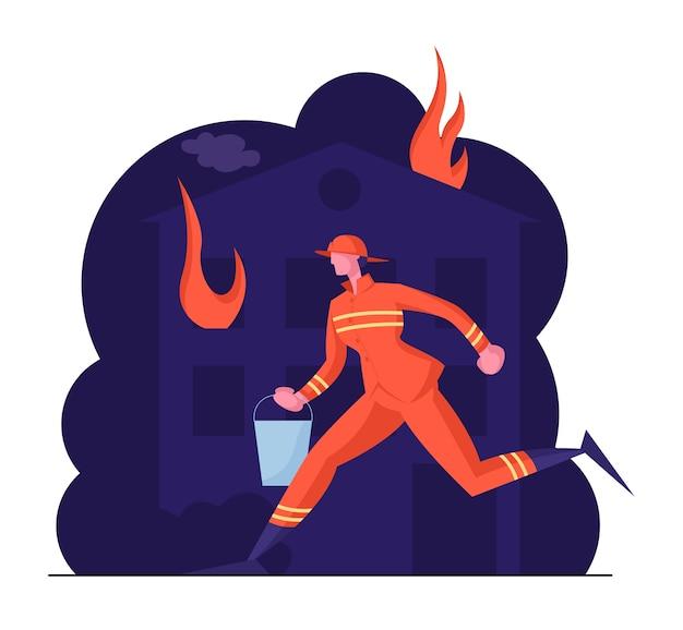 Bombero de trabajo de profesión extrema en uniforme de bombero