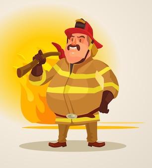 Bombero en uniforme. ilustración de dibujos animados plano de vector