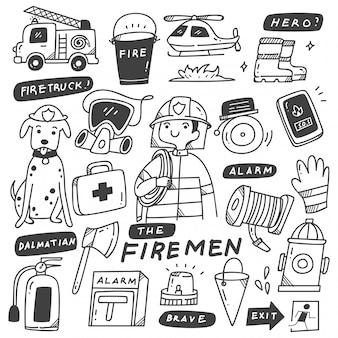 Bomberos y equipos doodles