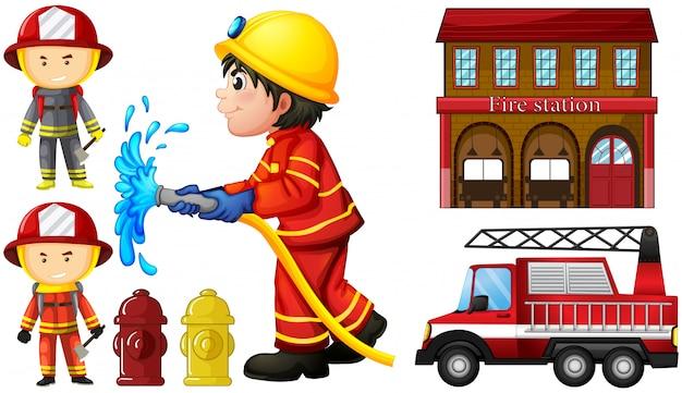 Bomberos y estación de bomberos.