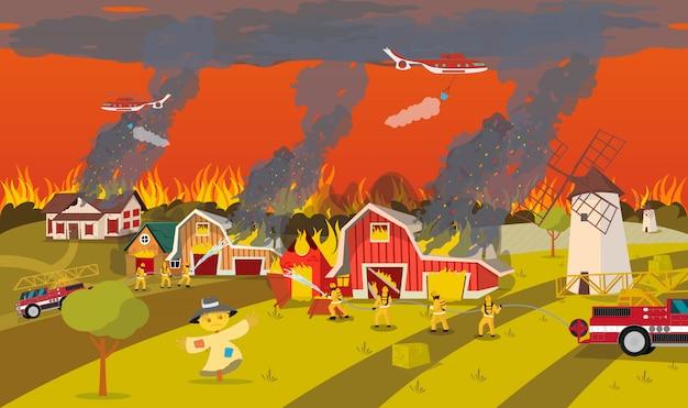 Bomberos extinguen granja. concepto de incendio forestal.