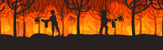 Los bomberos extinguen incendios forestales peligrosos incendios forestales en australia bomberos con extintores extinción de incendios concepto de desastres naturales intensas llamas naranjas horizontal de longitud completa