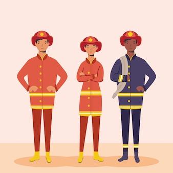 Bomberos personajes trabajadores esenciales
