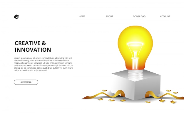 Bombilla 3d resplandor con caja blanca y confeti dorado ilustración para negocios e innovación