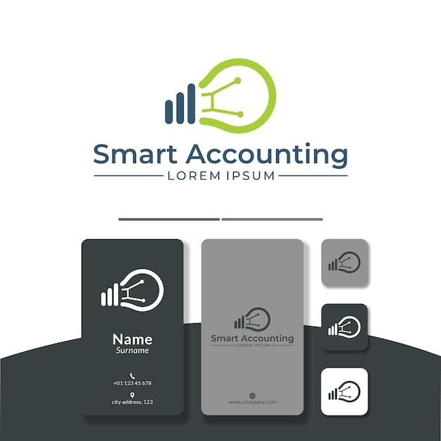 Bombilla analítica diseño de logotipo marketing contable
