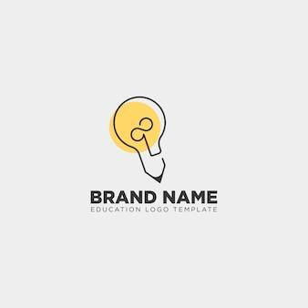 Bombilla de aprendizaje con logotipo de línea.