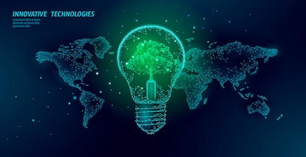 Bombilla con árbol en el mapa mundial. lámpara ahorro de energía ecología medio ambiente idea concepto. poligonal luz electricidad verde energía energía ilustración
