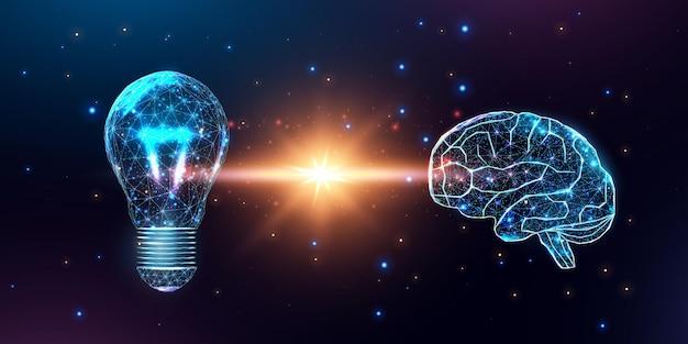 Bombilla y cerebro humano poligonal de estructura metálica. red de tecnología de internet, concepto de idea de negocio.
