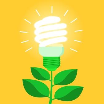 Bombilla de bajo consumo de energía verde cfl