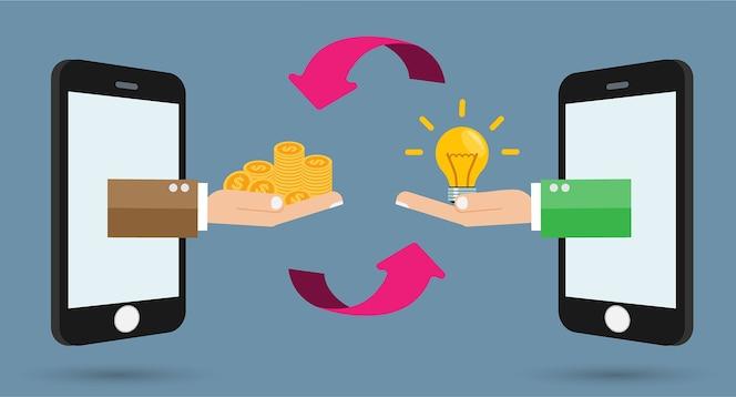 Bombilla de idea de intercambio de dinero en el teléfono móvil