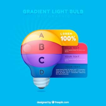 Bombilla de infografía con colores degradados