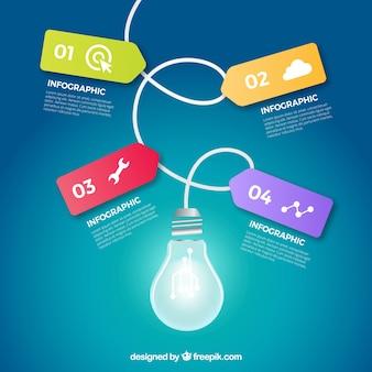 Bombilla de infografía con íconos e información