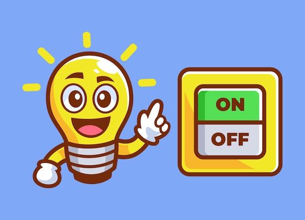 Bombilla de dibujos animados apuntó el interruptor de encendido
